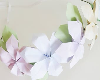 Origami flower crowns for girls, paper flowers, flower girl crown, wedding headpiece, girls hairbands, pastel flower crown,