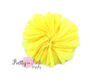 Yellow Large Double Ruffle Flowers...Chiffon Flower...Chiffon Ruffle Flowers...DIY Headbands...Wholesale