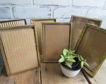 """6 Mismatched Frames Vintge Gold Frames Table Number Holders 5"""" x 7"""""""
