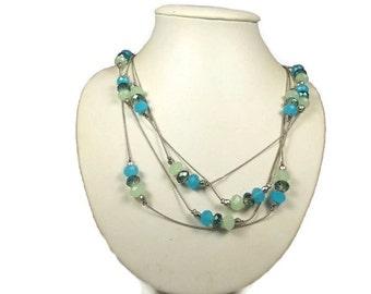 Sale Two Strand Long Glass Necklace Peridot Green Aurora Borealis Crystal NY