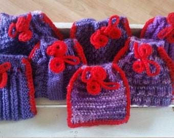 7 Knitted gift bags - purple and red drawstring bags -  festive knitted tree ornaments - stocking stuffers - knitted keepsake bags - purple