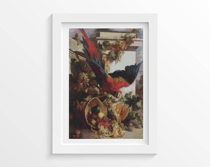Cross Stitch Pattern PDF, Embroidery Chart, Art Cross Stitch, Still Life with Parrot by Auguste-Aristide Fernand Constantin (FERNA01)