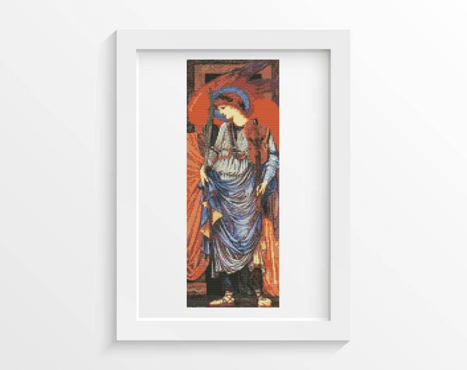 Cross Stitch Kit, Embroidery Kit, Art Cross Stitch, Angel Cross Stitch, A Musical Angel by Sir Edward Burne-Jones (BURNE03)