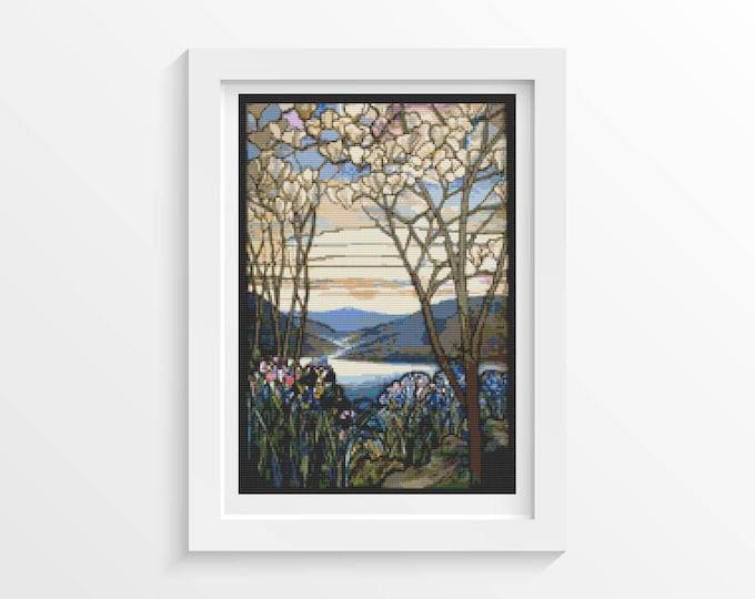 Cross Stitch Pattern PDF, Embroidery Chart, Art Cross Stitch, Floral Cross Stitch, Magnolia and Irises by Louis Comfort Tiffany (TIFF01)