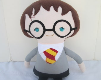 Harry Potter inspired doll- Made to Order, Wizard Doll, Toddler Toy, Hogwarts, Gryffindor Gift, Baby's first doll, Harry Potter soft doll
