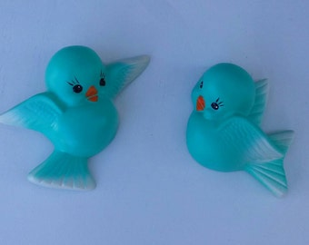 Chalkware Vintage Style Art Blue Bird or Red birds, or Yellow Finches, cream & turquoise wall plaques made from vintage molds.