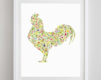 Rooster Floral Watercolor Art Print