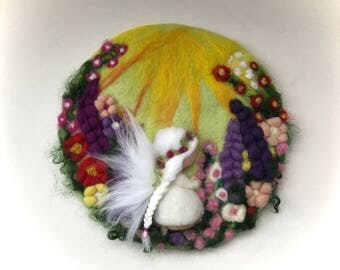 Flower Fairy,Picture,tapestry,Wet felted,Needle Felted. Waldorf