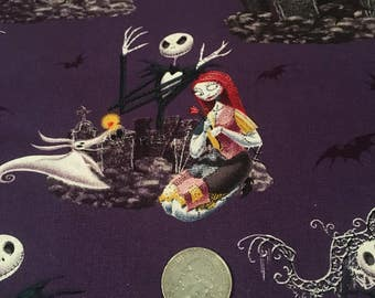 Nightmare Before Christmas Jack & Sally fabric FQ