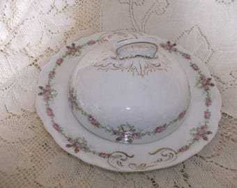 Warwick China Vintage Butter/Cheese Dish Covered Roses