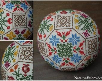 PDF primitive cross stitch quaker ball pattern: Seasons