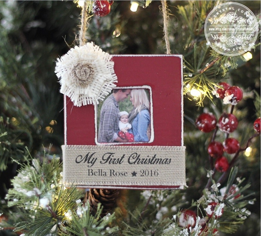 My First Christmas Ornament Personalized Holiday Gift For New Baby Photo Ornament Home Decor