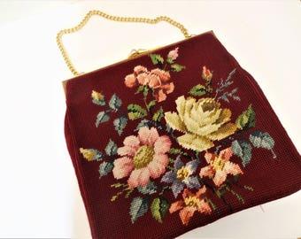Vintage Burgundy Floral Needlepoint Handbag -  Mid Century Floral Needlepoint Purse - Etched Brass Frame - Pleated Lining - Boho Chic