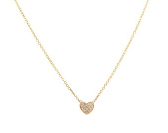 14K Solid Gold  Diamond Heart Pave Necklace