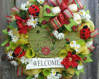 Spring Welcome wreath, Ladybug wreath, Spring wreath, Summer wreath, Welcome wreath, Spring decor, Spring Bird wreath, Spring Floral Wreath