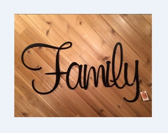 Rustic Metal Family - Metal Wall Words - Metal Wall Decor By PrecisionCut