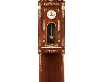 Fine Egyptian Revival Empire Style Mahogany Longcase Clock c. 1910 Paris