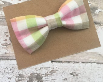 Easter bow tie..pastel checkered bow tie..boys bow tie..pastel gingham bow tie..wedding bow tie..newborn bow tie..toddler bow tie..