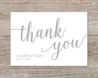 Gray Wedding Thank You Cards Printable // Editable Thank You Card Template // Silver Thank You Cards Wedding