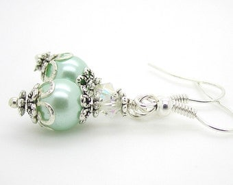 Pearl Bridesmaid Earrings, Mint Green Bridesmaid Jewellery, Mint Wedding, Pastel Green, Pearl Drop Earrings, Wedding Jewellery