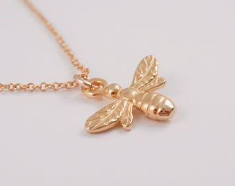 Bee, Bee Necklace, Gold Bee Necklace, Vermeil Bee Necklace, Gold Honey Bee Necklace, Sterling Silver Vermeil Bee Necklace, Bumble Bee,
