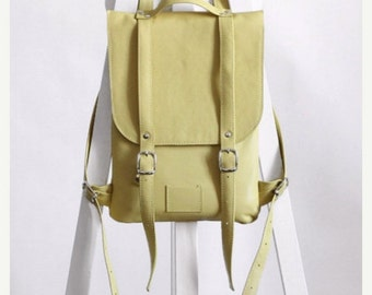 SALE! / Soft yellow  leather backpack rucksack / In stock / Small rucksack / Leather backpack / Leather rucksack / Womens backpack / Gift
