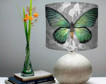 Blue Swallowtail Butterfly Lampshade -  Intricate silhouette botanical Patterned Fabric Drum Shade with insect motif handmade to order