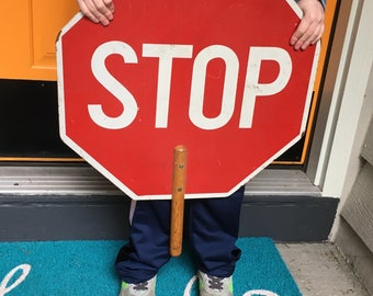 Vintage wooden flagger stop / slow paddle sign with handle