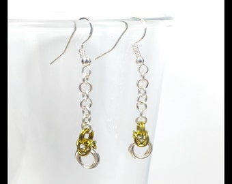 Sterling Silver Chainmaille Earrings - Byzantine Drop - Golden Yellow