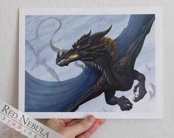 8.5x11 Black Dragon Art Print, Dark Fantasy Print, Flying Dragons, Dragon Flight, Fire Dragon, Black Dragon Poster, Fantasy Poster Print