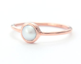 White Pearl Gold Ring 14k Rose Gold Natural Pearl Gold Ring Made in Your Size Pearl Engagement Ring