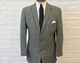 Vintage 1950s 2 Button Atomic Sport Coat with Patch Pockets. Size 42