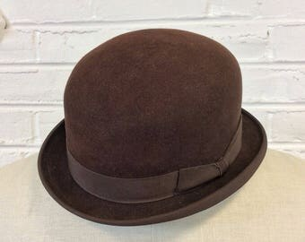 Vintage Stingy Brim Brown Derby Bowler Coke Hat. Size 7 1/8