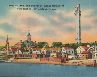 1950 Linen Postcard of The Center of Town and the Pilgrim Memorial Monument As Seen From The Harbor of Provincetown Massachusetts