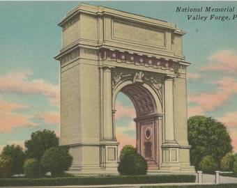 1950 Vintage Linen Postcard With Beautiful View of the National Memorial Arch in Valley Forge Pennsylvania | Blank Postcard