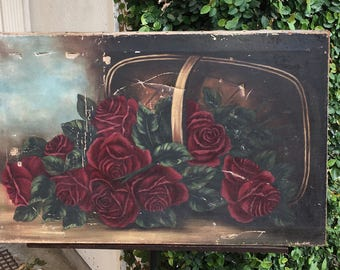 Antique  oil painting roses