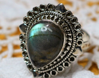 Labradorite Sterling Silver Ring Size 7 1/2