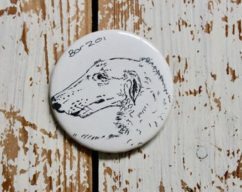 Original dog art, dog artwork, pen and ink, pen and ink drawing, dog Badge, teacher gift, dog pin, pin back button, dog drawing, dog lover