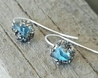 Gold pyrite and blue topaz dangle earrings - sterling silver earrings gift for her