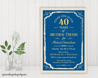 40th Birthday Party Invitation, Adult Birthday Invite, Men's Birthday Party Invitation, Surprise Party,  60th, 70th, 80th, 90th Celebration