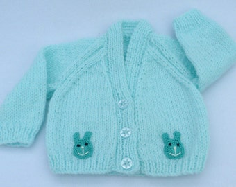 Premature baby sweater. Hand knitted tiny baby cardigan in pale turquoise. Baby clothes, baby sweaters, baby gift.