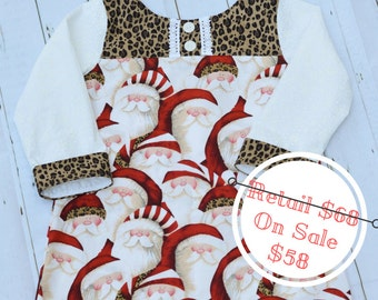 Santa Claus Christmas Dress size 4T with long sleeves ADORABLE animal print accents