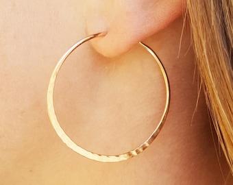 Minimalist Hoop Jewelry, Large wire hoop earrings, 14K rose gold-filled hammered hoops