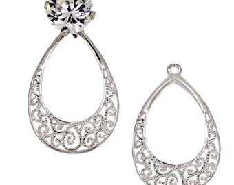 Sterling Silver Tear Drop Shaped Earring Jackets 63976JCK