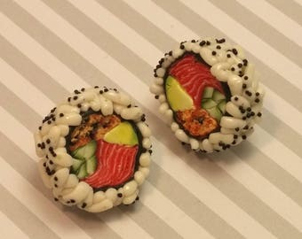 Free shipping Sushi polymer clay miniature food earrings