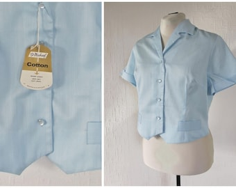 1950s Blouse 50s Blue Cotton Blouse 1960s Crop Top 1940s Waistcoat Blouse with St Michael Tag M / L