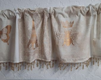 Ivory and Gold valance with amber beaded trim