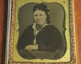 Antique framed tintype, tin type photo, photograph in union case, hand-tinted woman, vintage, 1800s, Victorian, Edwardian