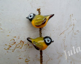 Lampwork beads, Lampwork birds, Tit birds, Tit bead, Glass bird