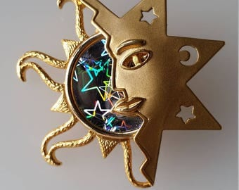 Stars Moon Sun Gold Tone Brooch Hullagram Stars